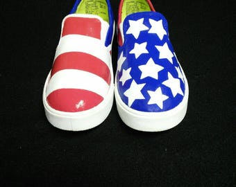 Patriotic American flag shoes/ Fourth of July shoes Hand-Painted