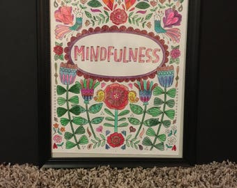 """Wall art/Decor """"Mindfulness"""" with COSTUMIZED frame color"""
