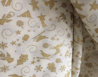Gold and ivory christmas fabric cotton poplin fabric UK