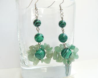 Earrings, handmade, Malachite, Aventurine semi-precious stones