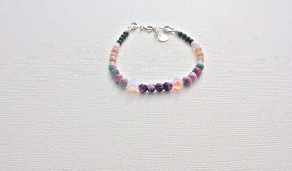 Gemstones and Silver 925 Bracelet: Kiwi Jasper, candy jade, Moonstone, blood stone