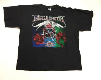 90s Megadeth Tour T-shirt.  1990s Megadeth Band Tee.  Megadeth On Tour Heavy Metal Tee