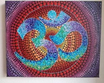 OM,mandala drop hand painted 3D dot art YOGA art OOAK 3D original art painting