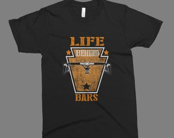Life behind bars biking cycling Funny Gift printed on American Apparel black t-shirt men women tshirt tank tops S-5XL