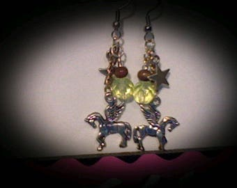 Pegasus earrings sliver charms w/yellow bead accents.