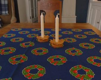 Vintage Swedish Christmas Blue Square Tablecloth Christmas Wreaths  90 x 90 cms