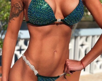 Dark&Green Metallic Spandex Bikini Suit with Crystals/Competition Suit/Posing Suit/Rhinestone Fitness