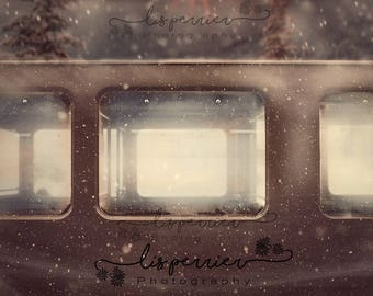 1 Train Window digital backgrounds | digital backdrops | | train composite | christmas | | festive