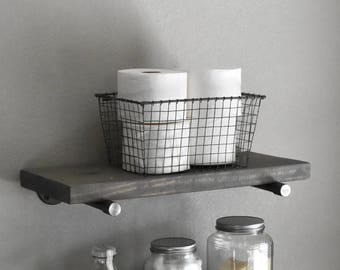 "10"" Deep Farmhouse Graywash Floating Shelf, Industrial Rustic Shelve, Wood and Pipe Shelf, Kitchen and Bathroom Wall Shelve"