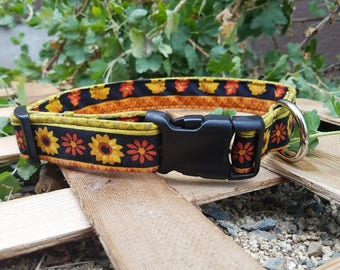 Cute Fall/Thanksgiving Flower, Leaf, and Holly Pattern Dog Collar