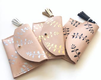 Leather coin purse, pouch, wallet, hand painted - leaf pattern with metallic tassel.