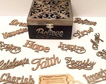 Motivational Keepsake - laser cut wooden box jewellery box memories box cusomized keepsake box personalized box unique box gift fo her