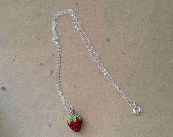 Strawberry necklace, sterling silver