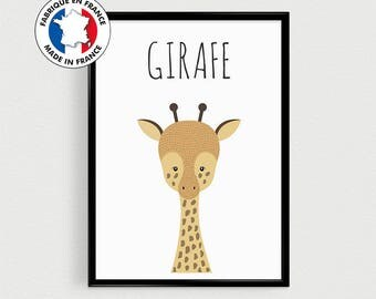 Post quotes in french of animal (Giraffe) Scandinavian for nursery or gift or baby room baby shower
