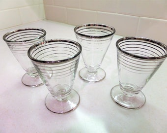 Vintage Silver Striped Cordial Glasses Set of 4
