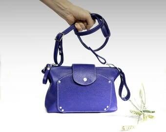 Blue Leather handbag minimalist  soft leather bag Italian cow leather crossbody women's handbag simply shoulder bag small leather purse