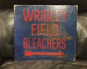 Wrigley Field Bleachers | Chicago Cubs | Baseball Sign | Distressed Wood Handmade Sign | Boys Wall Decor | Baseball Signage