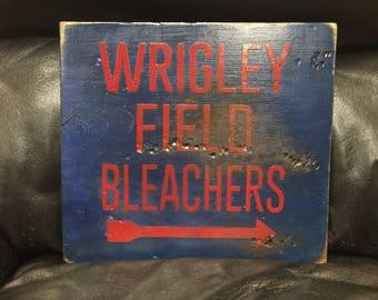 Wrigley Field Bleachers | Chicago Cubs | Baseball Sign | Distressed Wood Handmade Sign | Boys Wall Decor | Baseball Signage