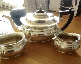 Vintage Silver Plated Teapot, Sugar Bowl and Milk Jug - Garrard and Co - Regent Street London