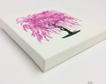 Pink Weeping Cherry Blossom Mini 5x5 Original Acrylic Hand Painting 5x5, 4x6 White Ornate Framed Print and Glicée Prints Available