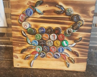 Crab beer bottle cap wall art - wood burned with caps on in. Perfect for manage beer lover bottle cap collector drinker