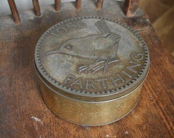 1956 farthing tin with wren design copper plated