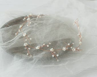 Bridal Crystal wreath Pearl headpiece Bride halo Pearl crystal prom hair accessories jewelry rustic vine Long garland Wedding hair wreath