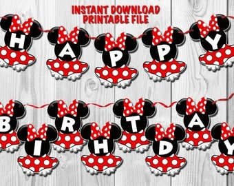 MINNIE MOUSE Banner, Minnie Mouse Centerpiece, Minnie Mouse Birthday Decoration, Minnie Mouse Birthday Banner, PRINTABLE