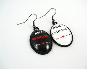 "SALE 50% humor messages - ""Deli (bitch)"" delichieuse earrings"
