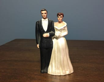 Vintage Plaster Wedding Cake Topper Bride and Groom (CT #9)