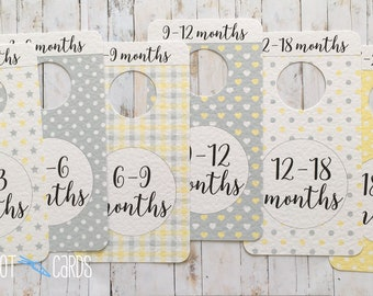 Baby Closet Dividers, Neutral, Baby Gift, Yellow and Grey Nursery, Baby Wardrobe Dividers, Baby Clothes Dividers