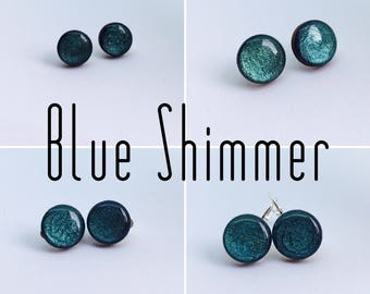 Blue Shimmer Round Resin/Bamboo Earrings - various styles and bails • studs • clip ons • drop • dangles • surgical steel • silver plated