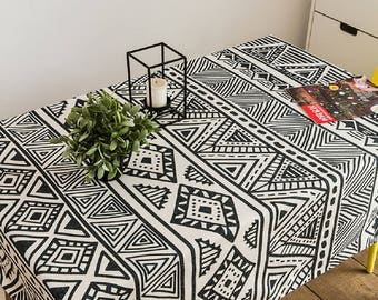 Awesome Native Totem Geometric Tablecloth / Black U0026 White Tablecloth / Party  Tablecloth / Indoor Outdoor Table