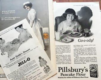 Vintage Food Ads, Ephemera for art journals and collage, 1912-1926