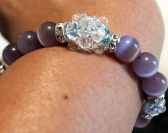 Beautiful grey, blue & clear-beaded shamballa bracelet; beadweaving, handmade, shamballa, cute, casual wear, party wear