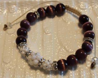 Beautiful dark purple & white-beaded bracelet; shamballa, beadweaving, handmade, cute, casual wear, party wear