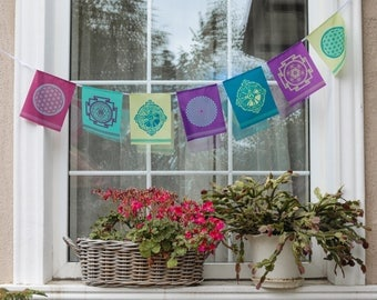 Sacred geometry MIX Prayer flags Hunab Ku Metatron Cube SRI / SHRI Yantra Flower of life Sahasrara Yoga Esoteric banner Home decor Bunting