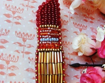 Red lipstick, Only one copy jewelry,  Bead embroidered Brooch, Bead embroidery jewelry