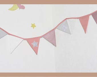 Bunting pink/gray silver glitter fabric stars