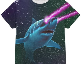 Galaxy Great White Shark Laser Beams All Over Youth T Shirt