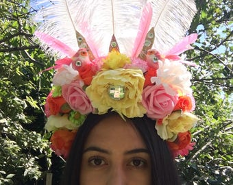 Summer Colours Flower Crown Showgirl Feathered Headdress