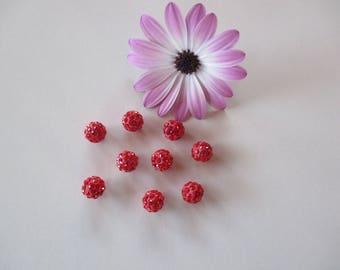 10 pearls round polymer coated mini rhinestones 10 mm red shamballa.