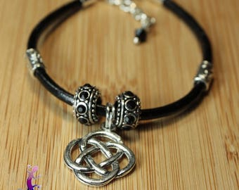 Original black leather with celtic knot charm bracelet and black beads and metal BRC4