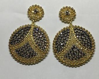 White topaz vermeil sterling silver earring
