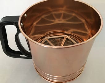 Triple Screen Copper Tone Flour Sifter with Manual Squeeze Side Handle