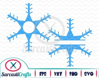 Snowflake Monogram Frames - Holiday Graphic - Digital download - svg - eps - png - dxf - Cricut - Cameo - cutting machine files