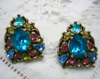 Vintage Hollycraft 1950 Multi Color Rhinestone Earrings