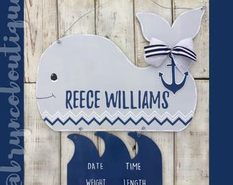 Whale + Waves / Hospital Door Hanger / Welcome Baby / Birth Announcement / Hospital Wreath