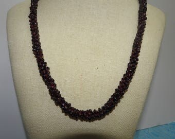 stunning vintage 24 inch braided beads garnet rope necklace,garnet necklace,birthstone jewelry,gift for her