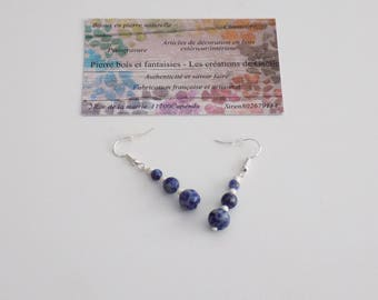 Earring in 925 sterling silver and sodalite
